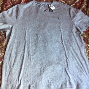 Mens Grey Ralph Lauren Polo VNeck Shirt